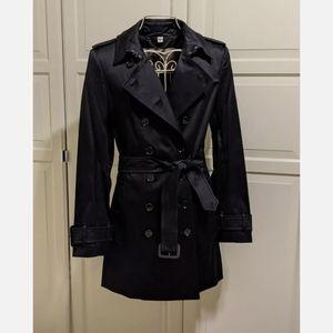 Burberry Westland Black Sateen Trench Coat Size 14